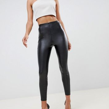 ASOS DESIGN high waisted spray on leather look pants at asos.com