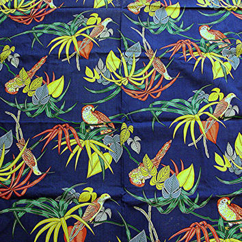 Vintage Cotton 1960s Fabric Novelty Parrots Hummingbirds Bird Fabric Navy Blue