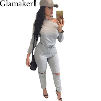 Glamaker Sexy off shouder long sleeve jumpsuit romper 2016 autumn hollow out gray jumpsuit women Fashion wine red  jumpsuit