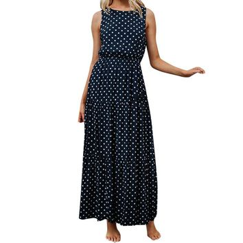 New Fashion Women summer sling dress elegant Ladies Dot Printing Round Neck Sleeveless Evening Party Long Dresses vestidos