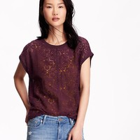Old Navy Womens Lace Front Tops