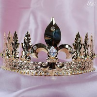 "Men's King Emperor Tiara Gold Crown Imperial Medieval  4"" Diadem Headband Austrian Rhinestones Pageant Party Costumes"