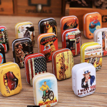 American Style Mini Tin Box | Beautiful 1PC Zakka Vintage Small Metal Tins Storage Box Organizer Pill Case