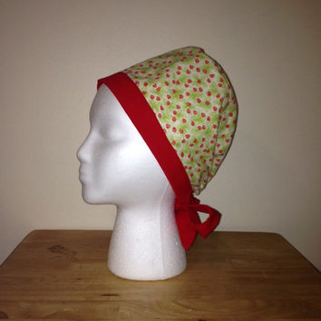 Red Strawberries Surgical Scrub Cap Chemo Hat