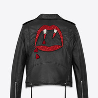 BLOOD LUSTER Motorcycle Jacket in Black Slouchy Leather and Red and White Beading