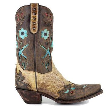 Dan Post Blue Bird   Beige/brown/turquoise Leather Western Boot