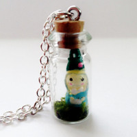 Gnome Terrarium Necklace Tiny Bottle Charm with Moss and Figurine on Chain