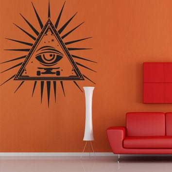 Wall decal decor decals art sticker all seeing eye annuit coeptis illuminati god triangle providence inscription (m779)