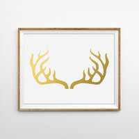 Faux Gold Foil Deer Antler Print. Shabby Chic Home Decor. Minimalist Wall Art. Rustic Decor.