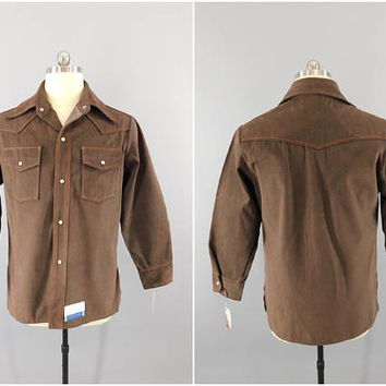Vintage 1960s Shirt / 60s Big Yank Shirt / Brown Denim / NOS With Tags / Camp Shirt / Pearl Snap Buttons /  Denim Country Shirt / Large 42