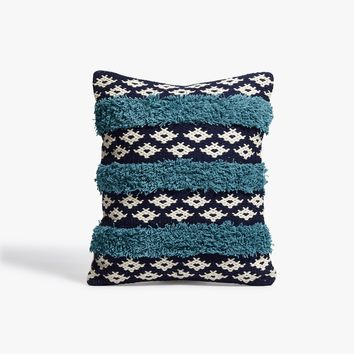 Teal Fringe Throw Pillow
