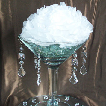 Hanging Wedding Crystals for Trumpet Vase, 5 pc, Martini Glass Vase, Manzanita Branch Tree, Wishing Tree