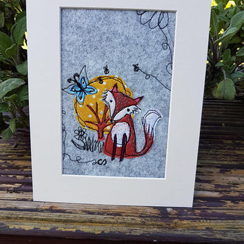 Mr fox free motion machine embroidery-wildlife-emboridery mounted unframed-sewing textiles artwork-textile media picture-college textiles