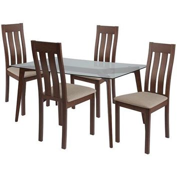 Sonoma 5 Piece Walnut Wood Dining Table Set with Glass Top and Vertical Slat Back Wood Dining Chairs - Padded Seats