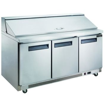 Commercial 3 Door Sandwich / Salad Prep Table 72""