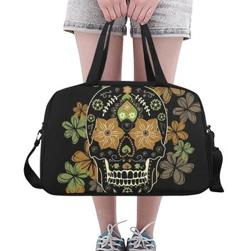 Skull With Floral Weekend Travel Bag