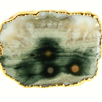 24K Gold Moss Agate Stone Slice Necklace - 24k Gold Wrapped Geode Pendant - Fine 14k Yellow Gold Chain - Modern Fine Jewelry