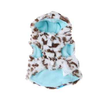 Pet Dog Coral Fleece Leopard Jacket Dress Up Coat New Warm Puppy Hooded Coats Clothes