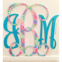 12 inch Wooden Monogram Lilly Pulitzer Inspired