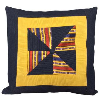 "Denim Geometrics Pattern 18""x18"" Patchwork Pillow Cover - Denim Blue, Yellow"