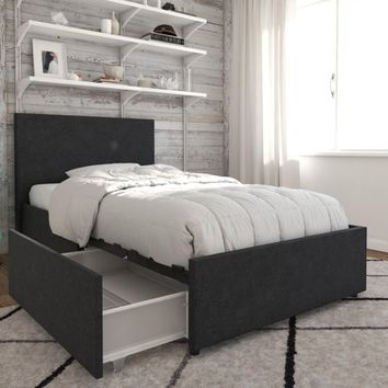 Novogratz Kelly Upholstered Bed with Storage - Walmart.com