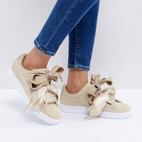 Puma Basket Heart Trainers With Metallic Trim In Tan at asos.com