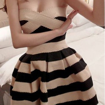 Black Striped Strapless Mini Dress