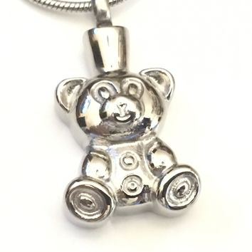 Teddy Bear Cremation Necklace, Bear Urn Locket, Teddy Bear Necklace, Cremation Locket, Memory Locket, Cremation Jewelry