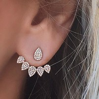 New Crystal Front Back Double Sided Stud Earrings For Women Fashion Ear Jacket Piercing Earing  e0123