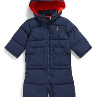 Infant Boy's Ralph Lauren Hooded Down Snowsuit,