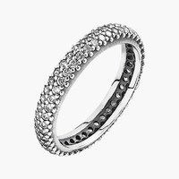 Women's PANDORA 'Inspiration Within Ring' Pave Band Ring - Silver/ Clear