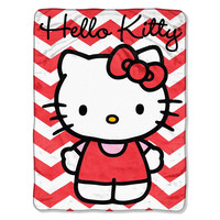 Hello Kitty - Chevron  Micro Raschel Blanket (46in x 60in)