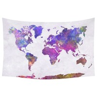 Watercolor World Map Cotton Linen Tapestry Wall Hanging