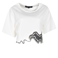 Ellie Embroidered Hem Woven Crop Shell Top