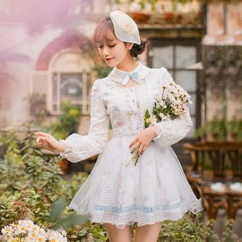 Princess sweet lolita dress Candy rain Japanese sweet slim dress female long sleeved Lace Princess Dress  C22AB7010