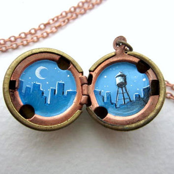 Oil Painted Skyline  - Unique Locket Necklace - Blue Metropolis with Crescent Moon and Water Tower