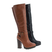 Gabby09 by Bamboo, Knee High Lug Sole High Stacked Heel Riding Boots