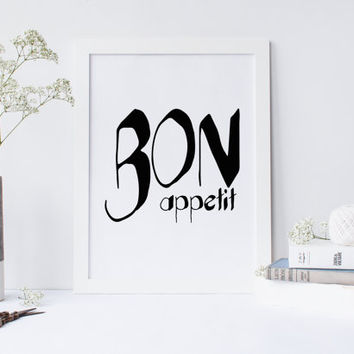 Bon appetit fashion poster, quote, art print for coffee shop, kitchen decor, restaurant print, restaurant decor, restaurant wall decor,print