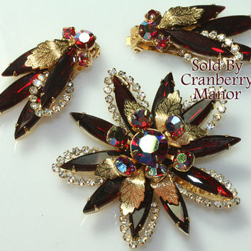 Rhinestone Brooch & Earrings, Ruby Red Demi Parure, Floral Flower Florette with Golden Leaves, Spring Vintage Fashion Costume Jewelry J2454
