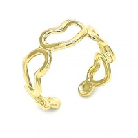 Gold Layered 01.117.0007 Toe Ring, Heart Design, Polished Finish, Golden Tone (One size fits all)