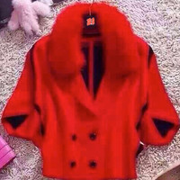 Red Outerwear Jacket with Fur