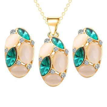 Lovely Opal Jewelry Sets Horse Eye Pendant Necklace Earrings Set Gold Color Long Chain African Dubai Jewelry Sets for Women