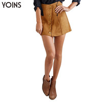 YOINS New Arrival 2016 Women Retro A-line Mini Skirt Summer Fashion Button Front Corduroy Skirt Saia Feminina