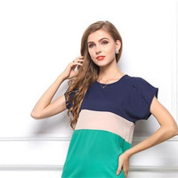 Color Block Bat Wing Sleeves Loose Top