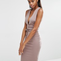 Missguided Tie Waist Midi Dress