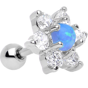 "1/4"" Blue Faux Opal Clear Petaled Floral Tragus Cartilage Earring"
