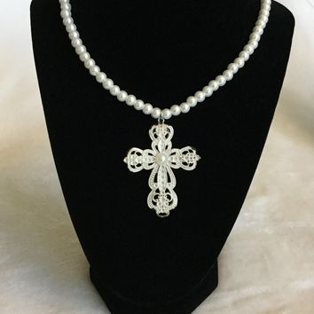Vintage Noir Antique Cross Pendant with Pearl Center on White Glass Pearl Necklace