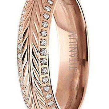 5.5mm Rose Gold Titanium Ring, Crested with Wheat Stem Engraving, Double Row