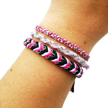 Neon Raspberry & Palest Pink - Teeny Tiny Fishtail Braided Modern Friendship Bracelet