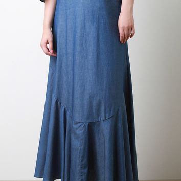 Chambray High Waisted Maxi Skirt